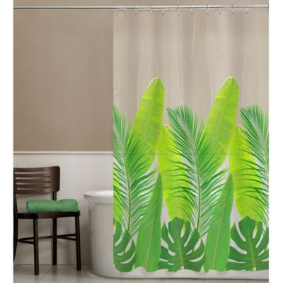 clear shower curtain with design. PEVA Tropical Leaf Shower Curtain Buy Clear Vinyl Curtains from Bed Bath  Beyond