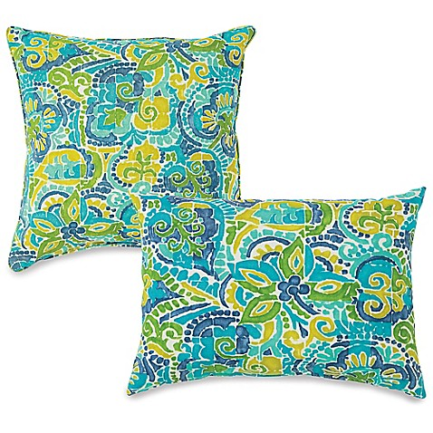 Bed Bath And Beyond Blue Throw Pillows : Outdoor Throw Pillows in Mosaic Blue - Bed Bath & Beyond