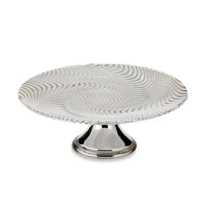 classic touch trophy 85inch wavy glass cake stand in whitesilver