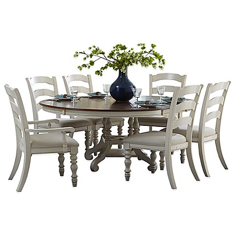 Hillsdale pine island 7 piece oval dining set with ladder for White oval back dining chair