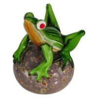 Dale Tiffany™ 6.75-Inch Frog on Glass Ball Art Glass Sculpture
