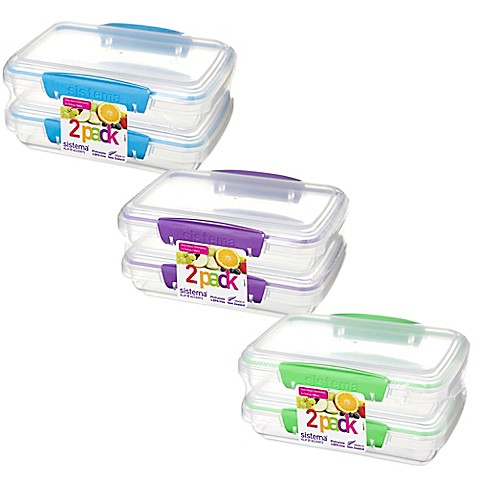 Sistema® KLIP IT™ Rectangular Accents 12.8 oz. Food Storage Containers (Set of  sc 1 st  buybuy BABY & Sistema® KLIP IT™ Rectangular Accents 12.8 oz. Food Storage ...