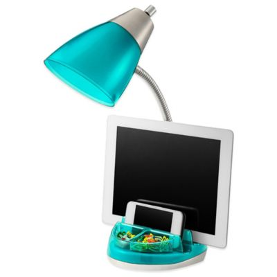 Equip Your Space CFL Functional Tablet Organizer Desk Lamp in Aqua - Buy Desk Lamp Organizer From Bed Bath & Beyond