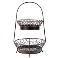 Mesa Pasha Collection 2-Tier Basket with Round Handles