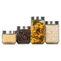 Home Basics® 4-Piece Glass Square Canister Set
