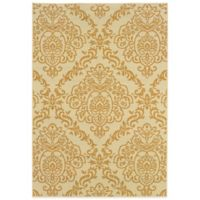 Oriental Weavers Bali Damask 7-Foot 10-Inch x 10-Foot 10-Inch Indoor/Outdoor Rug in Ivory/Gold