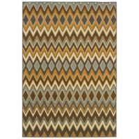 Oriental Weavers Bali Chevron 7-Foot 10-Inch x 10-Foot 10-Inch Indoor/Outdoor Rug in Gold