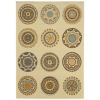 Oriental Weavers Bali Circles 2-Foot 5-Inch x 4-Foot 5-Inch Indoor/Outdoor Rug in Ivory/Grey