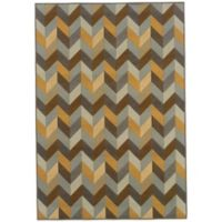 Oriental Weavers Bali Geometric Chevron 7-Foot 10-Inch x 10-Foot 10-Inch Rug in Grey/Gold