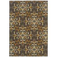 Oriental Weavers Bali Filigree 7-Foot 10-Inch x 10-Foot 10-Inch Indoor/Outdoor Rug in Grey/Gold