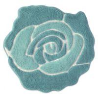 Jessica Simpson 26-Inch x 28-Inch Bloom Bath Rug in Aqua/White