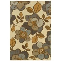 Oriental Weavers Bali Flowers 1-Foot 9-Inch x 3-Foot 9-Inch Indoor/Outdoor Rug in Ivory/Grey