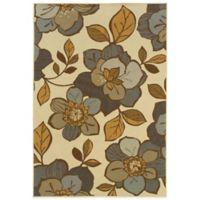 Oriental Weavers Bali Flowers 6-Foot 7-Inch x 9-Foot 6-Inch Indoor/Outdoor Rug in Ivory/Grey