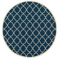 Oriental Weavers Riviera Trellis 7-Foot 10-Inch Round Indoor/Outdoor Rug in Navy