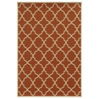 Oriental Weavers Riviera Trellis 7-Foot 10-Inch x 10-Foot 10-Inch Indoor/Outdoor Rug in Orange