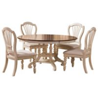 Hillsdale Pine Island 5-Piece Round Dining Set with Wheat Back Chairs in Old White