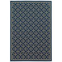 Oriental Weavers Riviera Honeycomb 5-Foot 3-Inch x 7-Foot 6-Inch Indoor/Outdoor Rug in Navy
