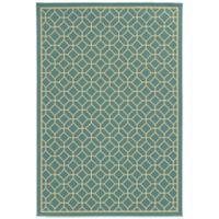 Oriental Weavers Riviera Honeycomb 7-Foot 10-Inch x 10-Foot 10-Inch Indoor/Outdoor Rug in Turquoise
