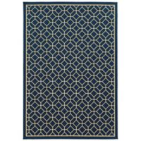 Oriental Weavers Riviera Honeycomb 7-Foot 10-Inch x 10-Foot 10-Inch Indoor/Outdoor Rug in Navy