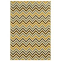Oriental Weavers Riviera Chevron 1-Foot 9-Inch x 3-Foot 9-Inch Indoor/Outdoor Rug in Grey/Gold
