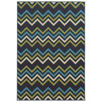 Oriental Weavers Riviera Chevron 5-Foot 3-Inch x 7-Foot 6-Inch Indoor/Outdoor Rug in Blue