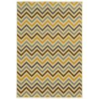 Oriental Weavers Riviera Chevron 6-Foot 7-Inch x 9-Foot 6-Inch Indoor/Outdoor Rug in Grey/Gold