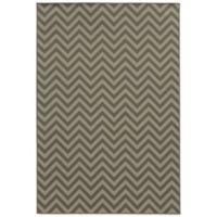 Oriental Weavers Riviera Chevron 6-Foot 7-Inch x 9-Foot 6-Inch Indoor/Outdoor Rug in Grey