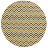 Oriental Weavers Riviera Chevron 7-Foot 10-Inch Round Indoor/Outdoor Rug in Grey/Gold