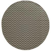Oriental Weavers Riviera Chevron 7-Foot 10-Inch Round Indoor/Outdoor Rug in Grey