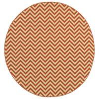 Oriental Weavers Riviera Chevron 7-Foot 10-Inch Round Indoor/Outdoor Rug in Orange