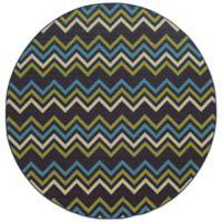 Oriental Weavers Riviera Chevron 7-Foot 10-Inch Round Indoor/Outdoor Rug in Blue