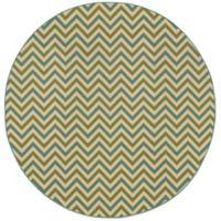 Oriental Weavers Riviera Chevron 7-Foot 10-Inch Round Indoor/Outdoor Rug in Green/Blue