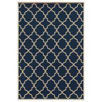 Oriental Weavers Riviera Trellis 3-Foot 7-Inch x 5-Foot 6-Inch Indoor/Outdoor Rug in Navy