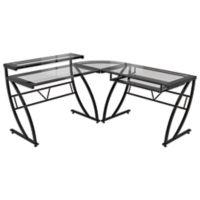 Z-Line Designs Feliz L-Shaped Glass Desk in Black