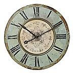Large Distressed Wood Wall Clock in Blue/Green