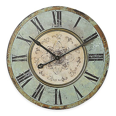 Large Distressed Wood Wall Clock In Blue Green Bed Bath
