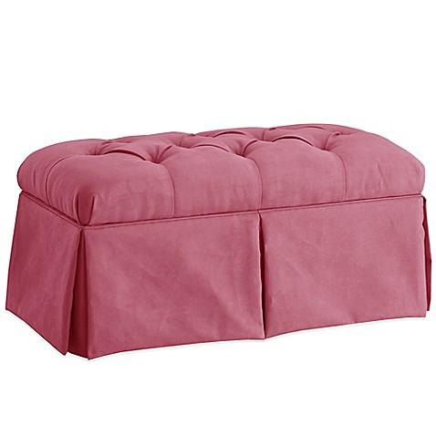 Skyline Furniture Skirted Storage Bench In Velvet Bling