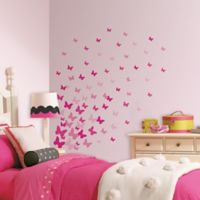 RoomMates Pink Flutter Butterflies Wall Decals