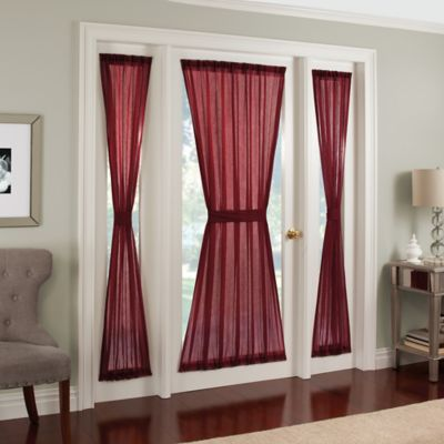 Crushed Voile Rod Pocket 40 Inch Side Light Window Curtain Panel In Burgundy