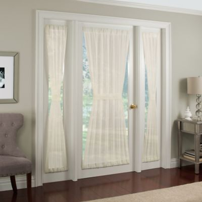 Crushed Voile Rod Pocket 40 Inch Side Light Window Curtain Panel In Ivory