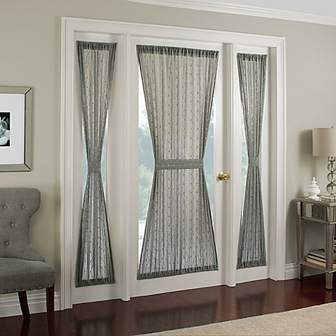 Crystal brook side light door panel bed bath beyond for Front door window curtains