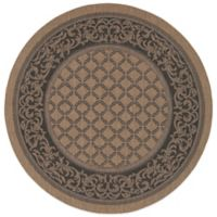 Couristan® Recife Garden Lattice 7-Foot 6-Inch Round Indoor/Outdoor Rug in Cocoa/Black