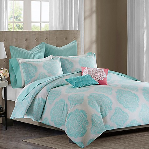 echo design bindi duvet cover in aqua bed bath amp beyond 85754