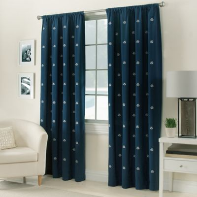 Crossed Anchors Rod Pocket 63 Inch Window Curtain Panel In Navy