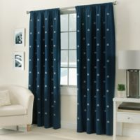 Crossed Anchors Rod Pocket 84-Inch Window Curtain Panel in Navy