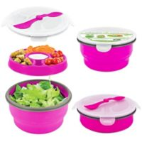SmartPlanet Eco Collapsible Salad Bowl Deluxe Meal Kit in Pink