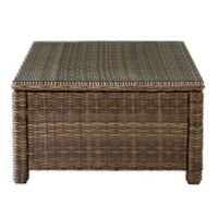 Crosley Bradenton Glass Top Wicker Coffee Table in Sand