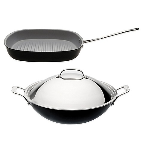 berghoff 3 piece covered wok and grill pan cookware set. Black Bedroom Furniture Sets. Home Design Ideas
