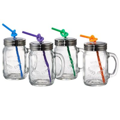 artland masonware mason jar mugs with lids and straws set of 4 - Mason Jar Glasses
