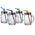 Artland® Masonware Mason Jar Mugs with Lids and Straws (Set of 4)